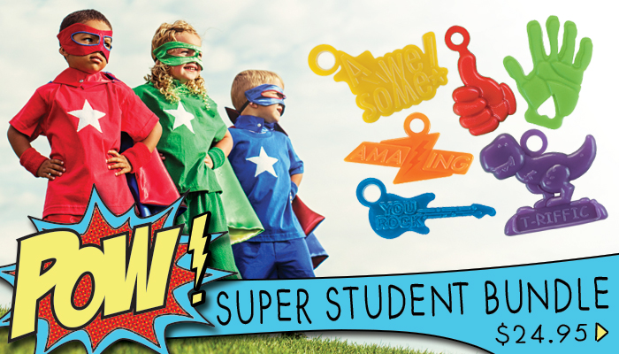 Our Super Student Bundle has all of the favorites at a great value. Bundle includes Thumbs Up, High Five, You Rock Guitar, Awesome, Amazing and T-Riffic. 150 awards for $24.95.