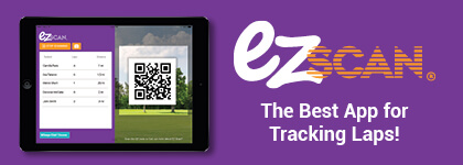 Tablet with QR Code scanner for tracking laps