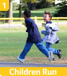 Kids running as part of our exercise program for elementary school